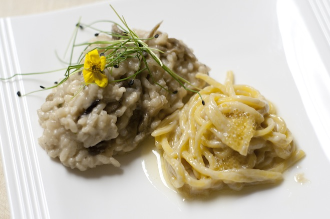 Spaghetti alla Chitarra al Limone e Caviale; e Risotto al Funghi Selvatici > Handmade Spaghetti with Lemon Cream–White Sturgeon Caviar Sauce; and Carnaroli Rice with Yellow Foot, Shiitake, Cremini, and Porcini Mushrooms