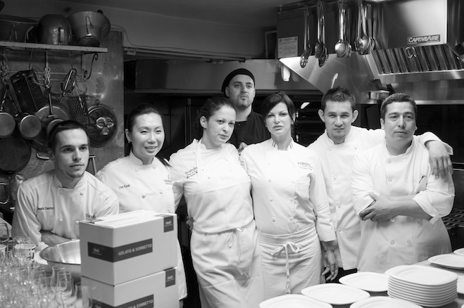 Chef Carla Pellegrino and her team in the Beard House kitchen