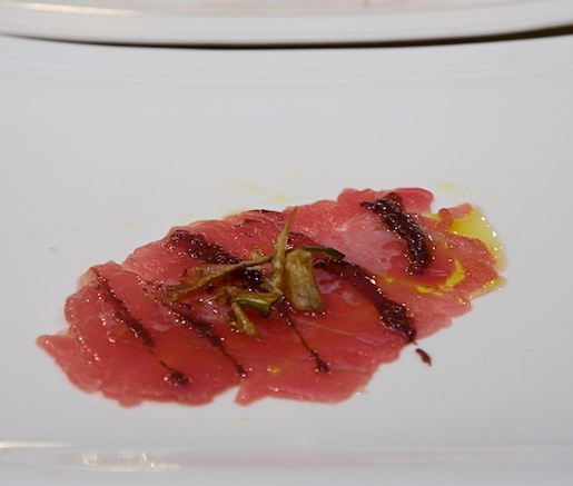 Tuna Carpaccio with Olive Tapenade and Artichoke Crisps