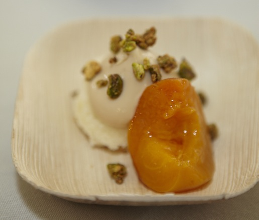 Wölffer Estate Rosé–Poached Apricots with Lemon Cake, Dulcey Panna Cotta, and Pistachios by Colleen Grapes (The Harrison)