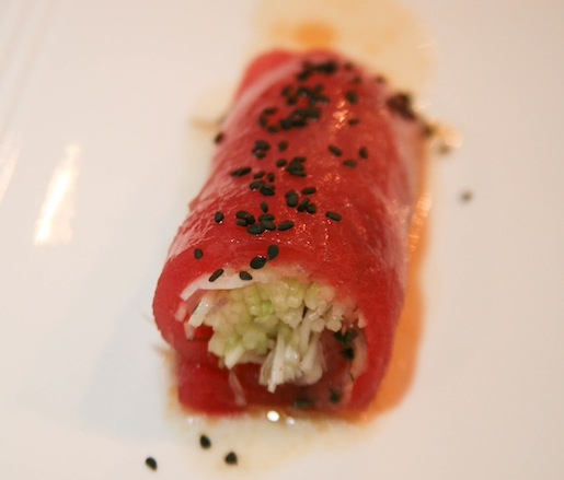 Yellowfin Tuna Rollatini with Shaved Fennel, Cucumbers, Opal Basil, and Yuzu–Sesame Vinaigrette