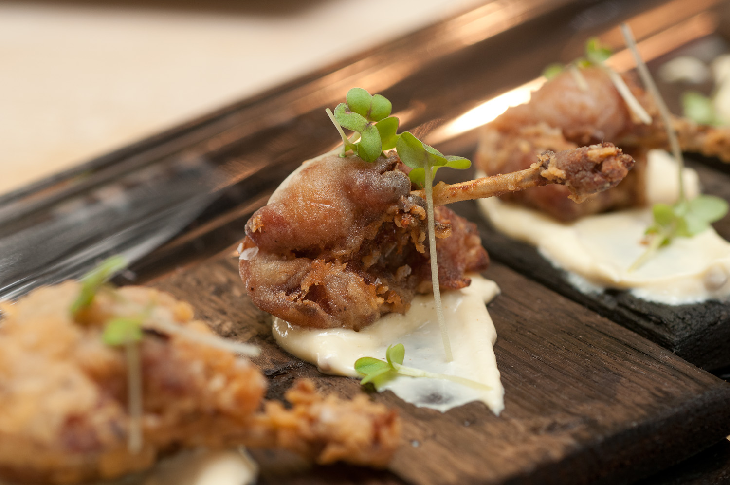 Fried Manchester Farms Quail with Toasted Mustard Seed Emulsion