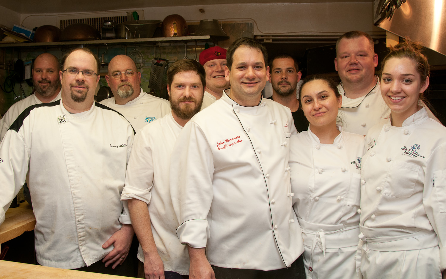 Chef John Varanese and his team in the Beard House kitchen