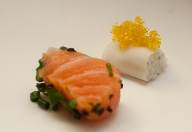 Kombu-Crusted Salmon with Wasabi, Cilantro, Roe, and Lime; Daikon-Wrapped Crab Salad with Apples, Coriander Flowers, and Caviar;