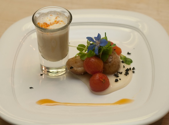 Smoked Potato–Heirloom Tomato Salad with Black Truffle Crumbles, Apple Cider Gastrique, Spring Onion Velouté, and Nutmeg Foam