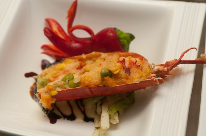 Lobster Tamale with Cactus–Green Chili Stir-Fry and Soy Butter