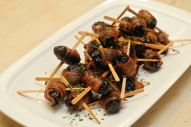 Hazelnut-Smoked Bacon–Wrapped Prunes
