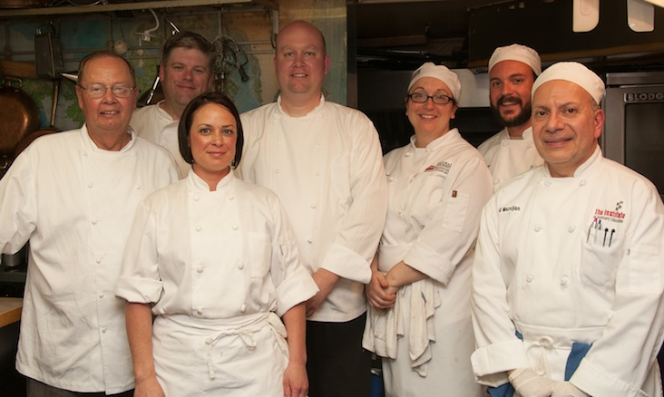 Jason Stoller Smith and Josh Bergström with their team in the Beard House kitchen.