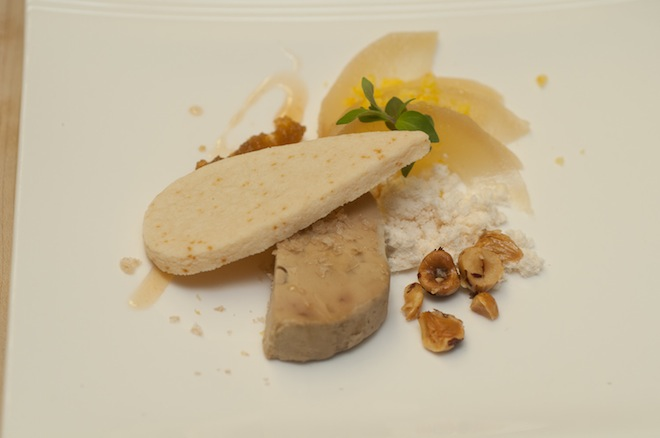 Laurelwood > Hudson Valley Foie Gras Torchon with Compressed Hood River Pear, Crabapple Mostarda, Yogurt Biscuit, Orange Rock Candy, Hazelnuts, Mountain Mint, and Oregon White Truffle Soil
