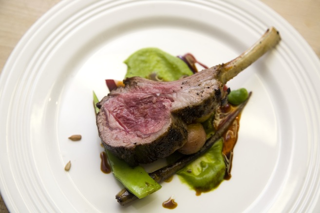Colorado Rack of Lamb with Fava Bean Purée, Spring Carrots, Grilled Ramps, and Dragon Sauce