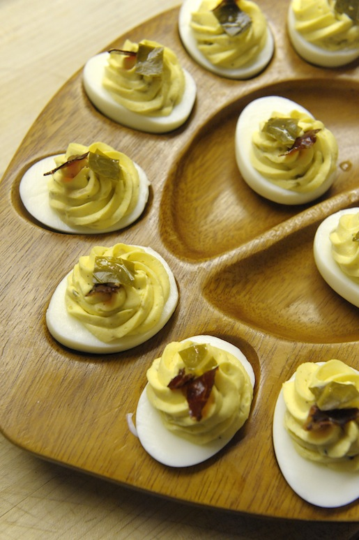 Deviled Eggs with Pickled Collard Stems and Crispy Cane Creek Farm Country Ham