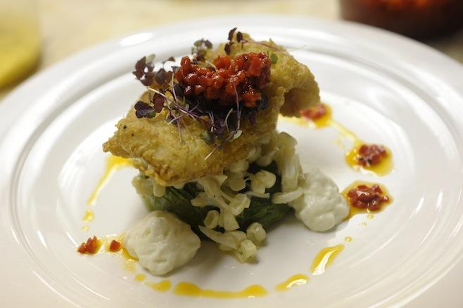 Crispy Carolina Flounder with Lump Crab, Sweet Corn, Avocado, and Piquillo Peppers
