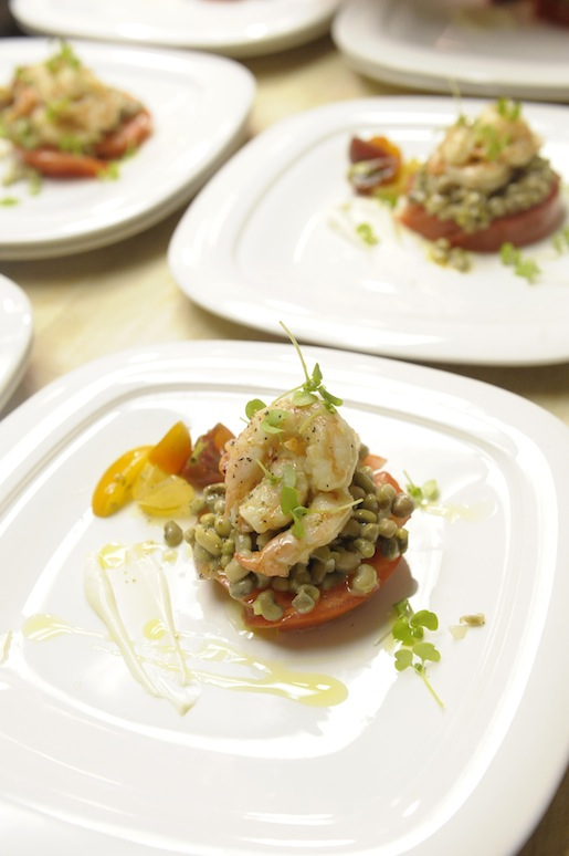 Pickled Pamlico Sound Shrimp with Six-Week Peas, Lion's Mane Mushrooms, and Sunburst Tomatoes