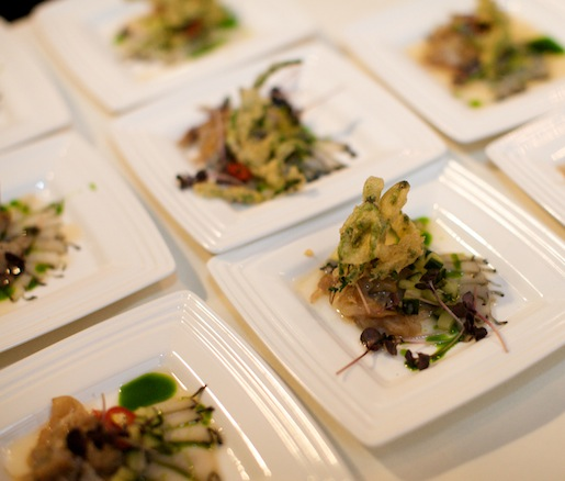 Thai-Style Abalone and Geoduck Crudo with Sea Bean Tempura and Pickled Ramps