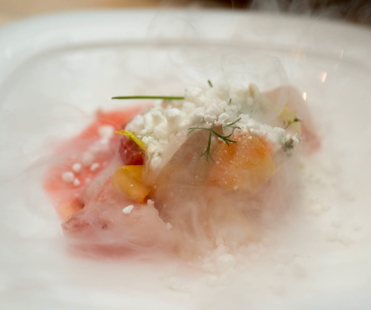 Monterey Bay Abalone with Mink Island Fluke, Pickled Tiny Vegetables, Blood Orange, and Yuzu Kosho–Horseradish Snow