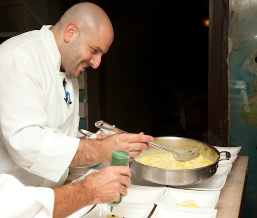 Carmine Di Giovanni plating the Sheep's Milk Ricotta Gnocchi