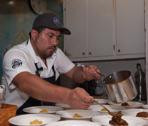 Chef Zarate plating his Estofado de Carne