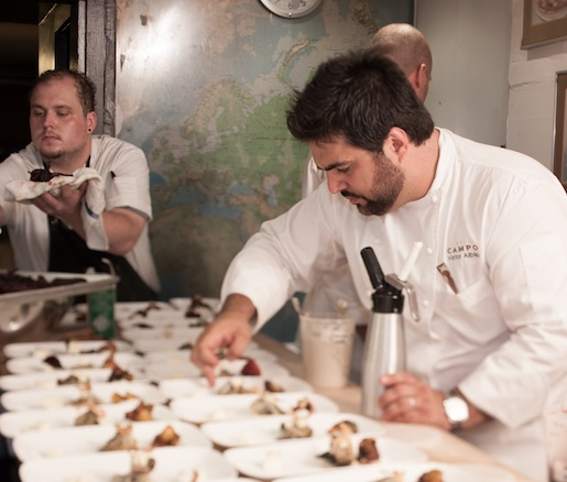 Victor Albisu plating the Del Jardin
