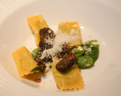 Agnolotti with Potatoes, Green Garlic, Morels, and Fava Beans