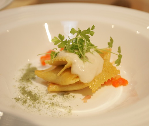 Corn Agnolotti with Pork Broth, Pickled Chowder Vegetables, and Potato Foam