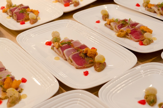 Ahi Tuna and Hamachi Mosaic with Maine Uni, Blood Orange, and Toast