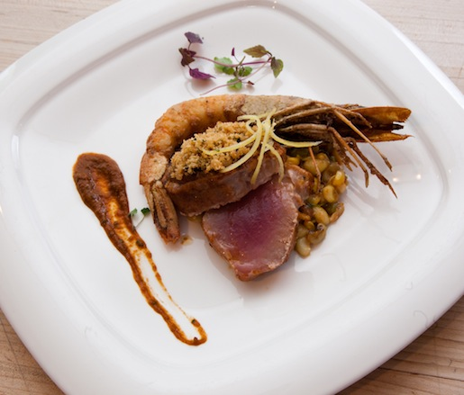 Cracklin' Crusted Ahi Tuna with Royal Red Shrimp Maque Choux, Crab Boil Lentils, Chile-Roasted Garlic, Lemon Confit, and Puerto Rican Sofrito