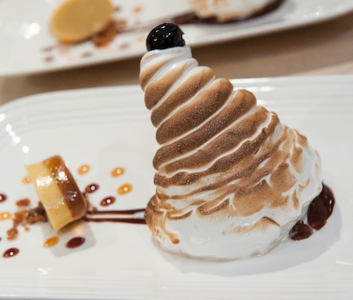Baked Alabama > Vanilla Moon Pie with Southern Butter Pecan Ice Cream, Burnt Meringue, and Chocolate Sauce