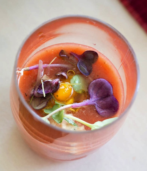 Smoked tomato gazpacho with corn and crab from Alison Eighteen