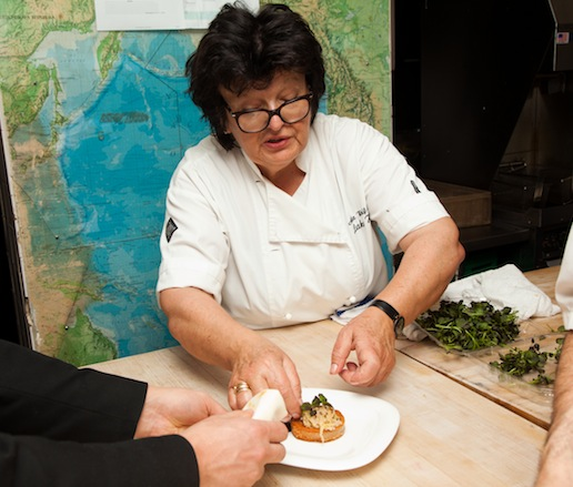 Alla Wolf-Tasker in the James Beard House kitchen
