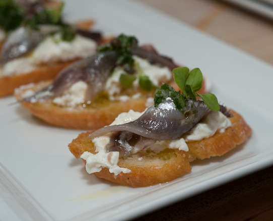 Grape Salt–Cured San Francisco Bay Anchovies with Wild Fennel Salsa Verde