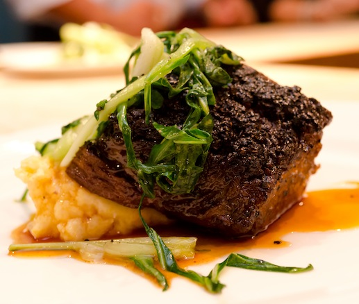 Blue Mountain Coffee and Cocoa–Encrusted Certified Angus Beef® Short Ribs with Creamy Polenta and Chipotle Agave Glaze