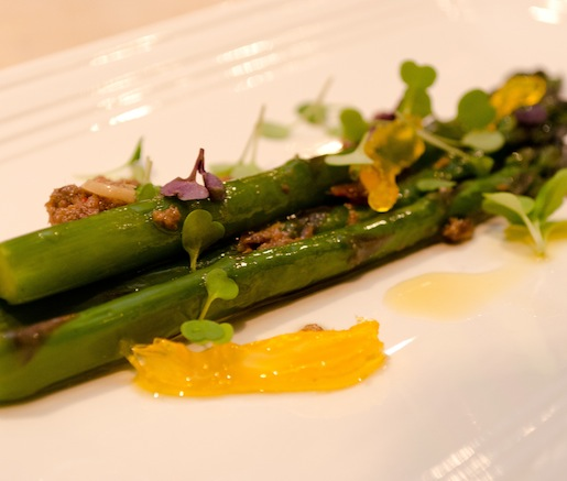 Walla Walla White Asparagus Bagna Cauda with Cured Egg Yolk