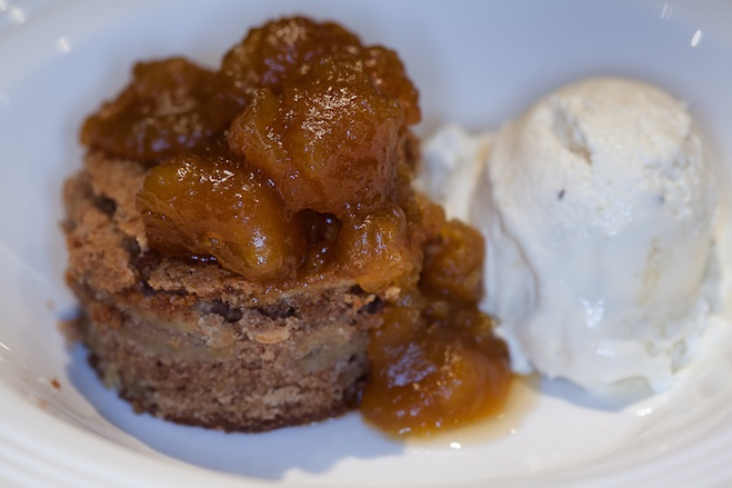 Don Farmer's Apple Cake from The New James Beard Cookbook with Adirondack Three-Year-Aged Cheddar Gelato and Dulce de Calabaza