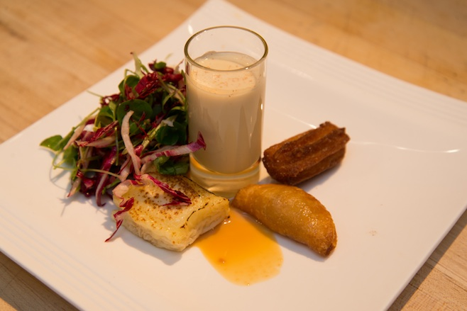 Fried Vermont Honeycrisp Apple Pie with Torched Vermont Creamery Bijou Aged Goat Cheese, Bitter Green Salad, Housemade and Barrel-Aged Eggnog, and Churro