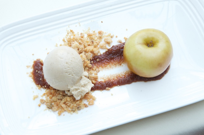 Apple Pie with Glazed Apples, Cheddar Crumble, and Cinnamon Ice Cream