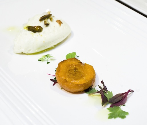 Goat Cheese Bavarois with Honey-Roasted Apricots and Micro-Herbs