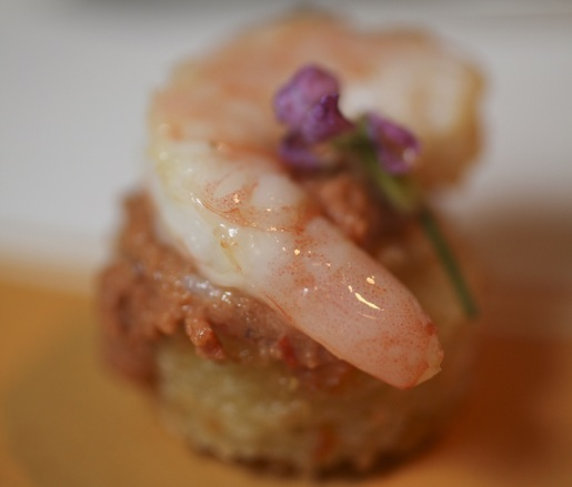 Carolina Rice Arancini with Pickled Shrimp, Peanut Romesco, and Bottarga