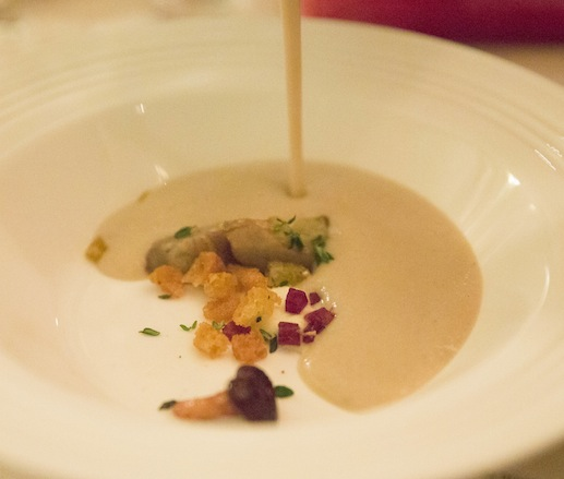 Jerusalem Artichoke Velouté with Jamón Ibérico, Chanterelles, Mascarpone, Sourdough Croutons, and Thyme