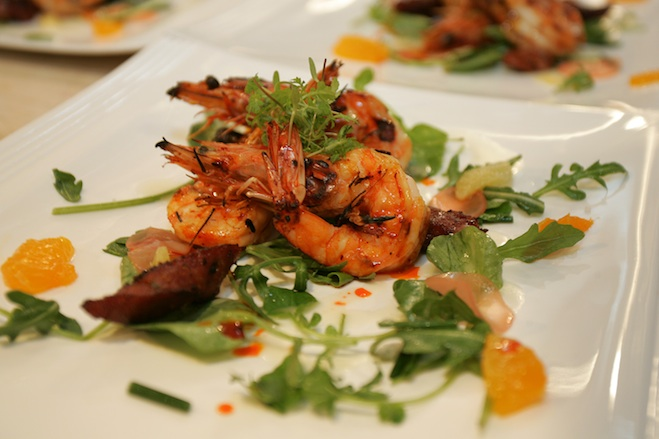 San Ysidro Ranch Garden Arugula and Watercress Salad with Santa Barbara Spot Prawns, House-Cured Chorizo, Pickled Radishes, and Meyer Lemon Vinaigrette