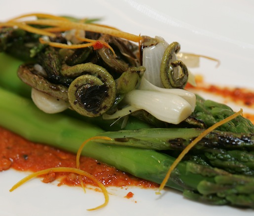 Asparagus with Charred Spring Onions, Lemon, and Romesco