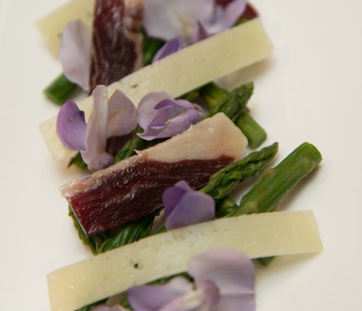 Wisteria Flower–Asparagus Salad with Cinco Jotas Jamón Ibérico and Montegrato Aged Sherry Vinegar