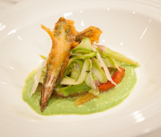 Raw Spring Asparagus Salad with Roasted Hot and Sweet Peppers, Asparagus Purée, and Pecorino Consommé