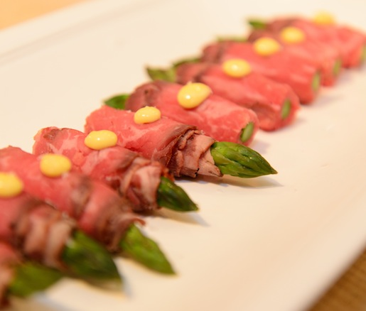 Smoked Wagyu Sirloin–Wrapped Asparagus with Horseradish Hollandaise