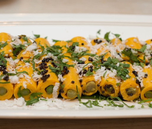 Asparagus Rolls with Gram Flour Cannelloni, Curry Leaves, Cumin, and Coconut