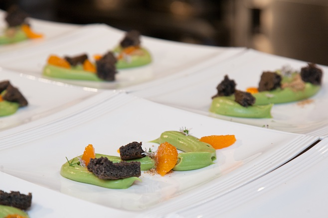 Avocado Pudding with Black Sesame Financier, Orange, and Kaffir Lime