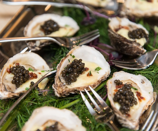 Roasted Bacon–Wrapped Beausoleil Oysters with Creamed Leeks and Golden Osetra Caviar