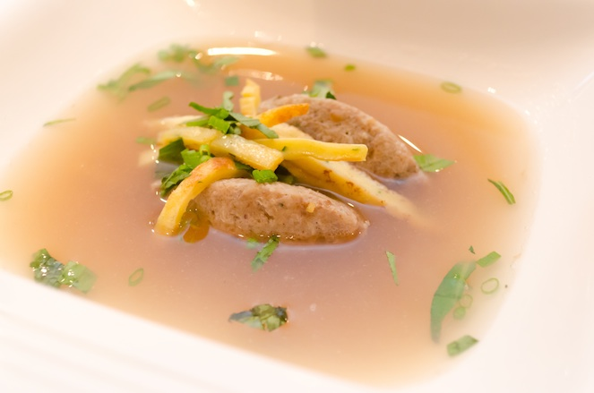 Baden Pancake Soup with Chanterelles and Liver Dumpling