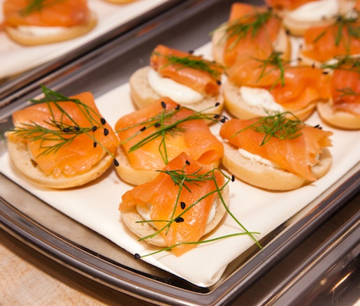 Smoked Salmon with Dill and Cream Cheese on Miniature Bagels