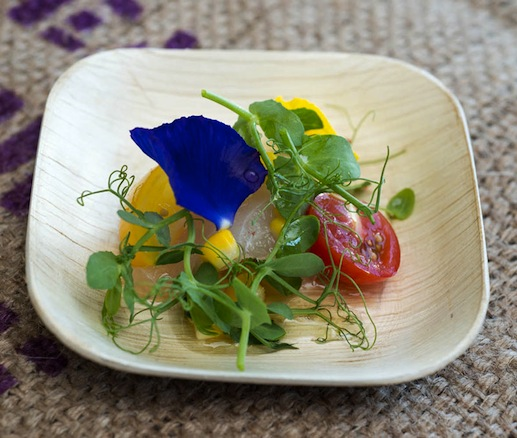 Fish crudo with heirloom tomatoes and charred corn from Timon Balloo of SUGARCANE raw bar grill
