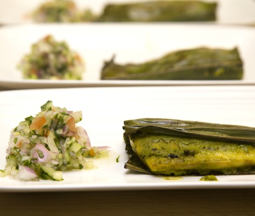 Banana Leaf–Wrapped Black Bass Fillet with Coconut, Mint, and Cilantro Chutney